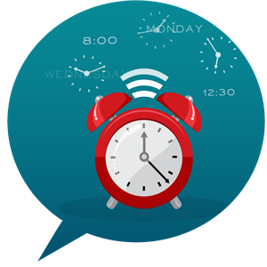 Speech bubble with clock icon inside