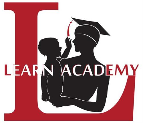 Learn Academy logo with a big L and mother and child