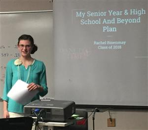 high school student presenting her high school and beyond plan