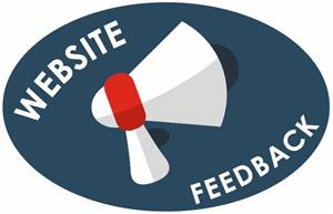 Megaphone with the words 'website feedback'