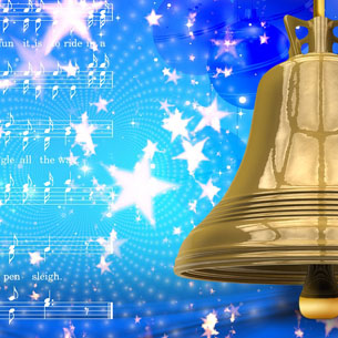 Bell over holiday background with sheet music