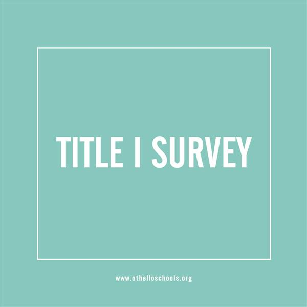 blue background with label stating title one survey