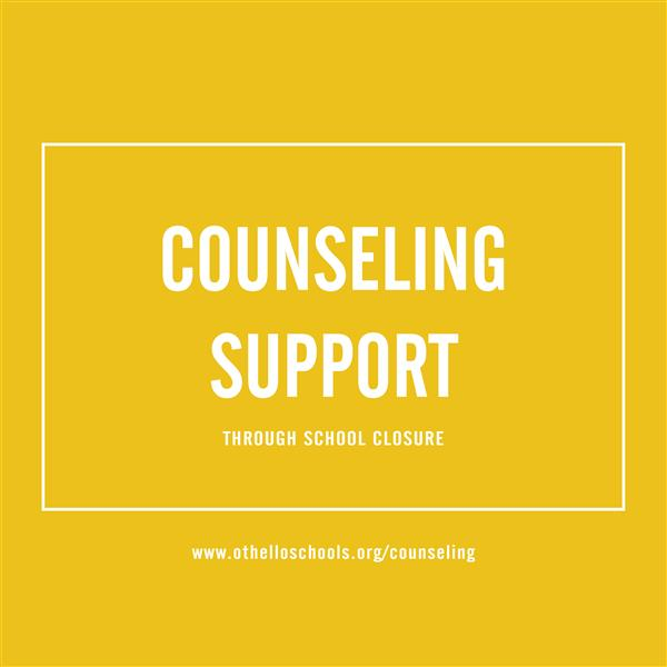yellow background with text stating counseling support through school closure