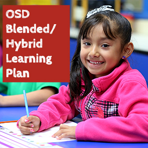 Girl in pink sweater hybrid learning plan